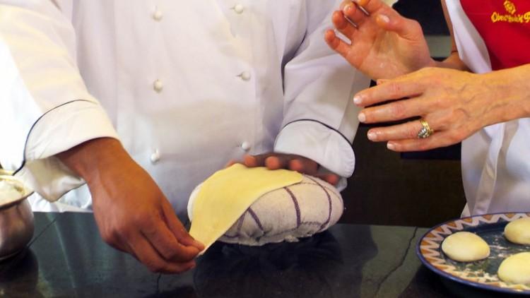 spreading dough